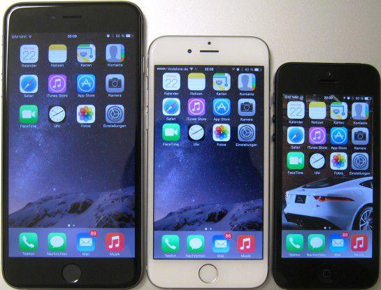 Gruppenbild: iPhone 6 Plus, iPhone 6 und iPhone 5s
