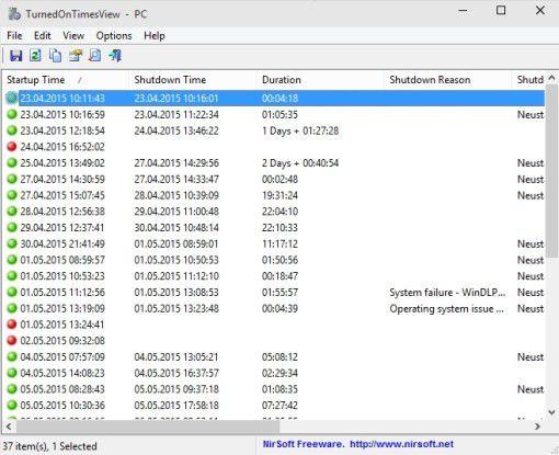 TurnedOnTimesView zeigt an, wann Ihr PC gestartet und heruntergefahren wurde.