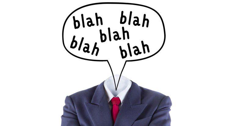 Vermeiden Sie im Bewerbungsgespräch überflüssige Wörter, Füllwörter und Phrasen.