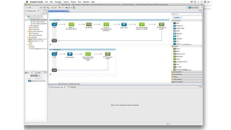 In moderne SOA-Entwicklungsumgebungen wie dem Anypoint-Studio von Mule können Services grafisch als Flowservices entwickelt werden.
