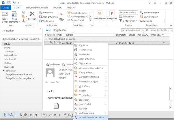 Kontextmenü einer archivierten E-Mail von T-Systems.