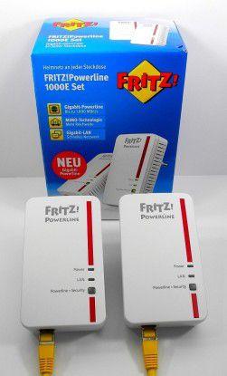 """Das 1.200-Megabit-PLC-Starter-Kit """"AVM FRITZ!Powerline 1000E"""" wirbt auf der Schachtel mit Gigabit-Speed bis zu 1.000 Megabit und """"mehr Reichweite"""" dank MIMO-Technologie."""