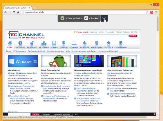 """Avira Browser Safety im Chrome-Browser: Recht unauffällig zeigt die Erweiterung an, wie viele """"Tracker"""" auf der Web-Seite zum Einsatz kommen."""