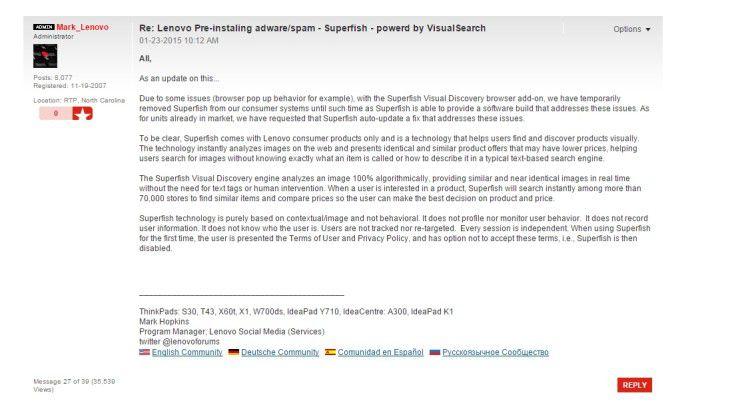 """Community-Administrator Mark Hopkins versuchte schon vor drei Wochen, die Nutzer zu beruhigen und kündigte eine Überarbeitung von """"Superfish"""" an."""