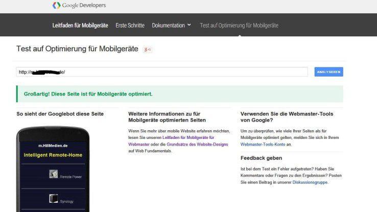 Per Google kann überprüft werden, ob die eigene Web-Seite mobil-freundlich gestaltet ist.