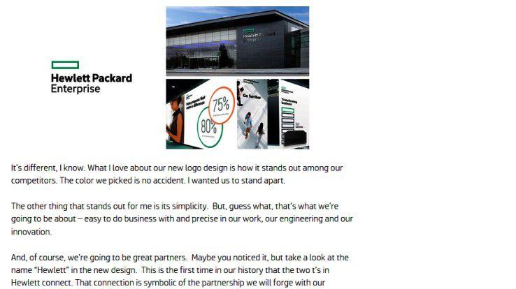 """HP CEO Meg Whitman präsentiert auf der firmeneigenen Website das neue Logo von Hewlett Packard Enterprise. Schlichte, schwarze Schrift auf weißem Grund und ein Rechteck in türkis sollen Geradlinigkeit und Präzision vermitteln, verschmolzene """"t""""s Verbundenheit symbolisieren."""