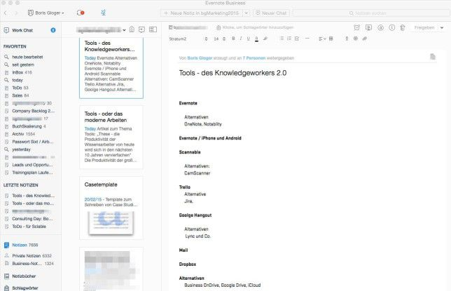 In Evernote arbeitet der Nutzer mit Notizbüchern.