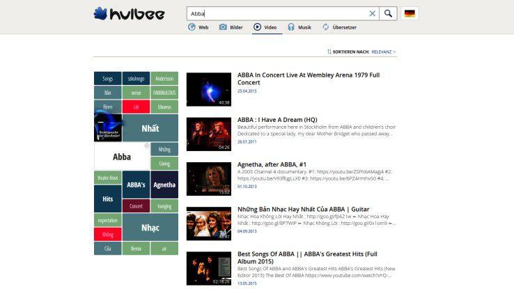 Neben der bekannten Websuche bietet Hulbee auch eine Bilder-, Musik- und Videosuche.