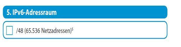 Hier ein Auszug aus einem Auftragsformular wie es der Provider m-net bereitstellt: Hier kann der Kunde gleich die entsprechenden IPv6-Adressen beantragen (Quelle: m-net).