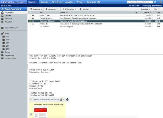 Der Web-Mail-Client von Intra2net.