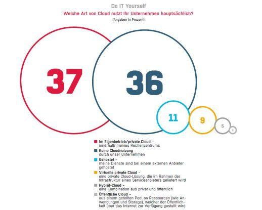 Mehr als ein Drittel der Befragten setzt auf ein Private-Cloud-Szenario.