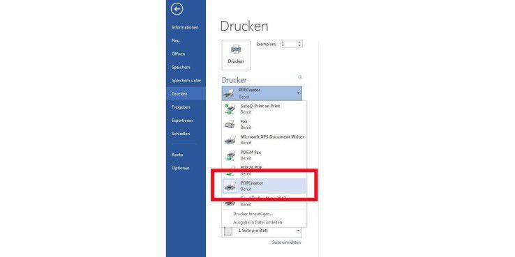 Hier wählen wir PDFCreator als Drucker im Drucker-Menü von MIcrosoft Word 2013 aus.