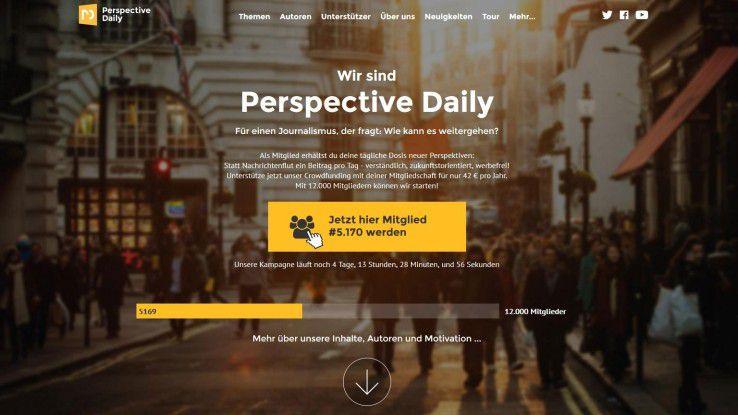 Das Online-Magazin Perspective Daily verschreibt sich dem konstruktiven Journalismus. Die Crowdfunding-Kampagne läuft noch bis zum 21. Februar.
