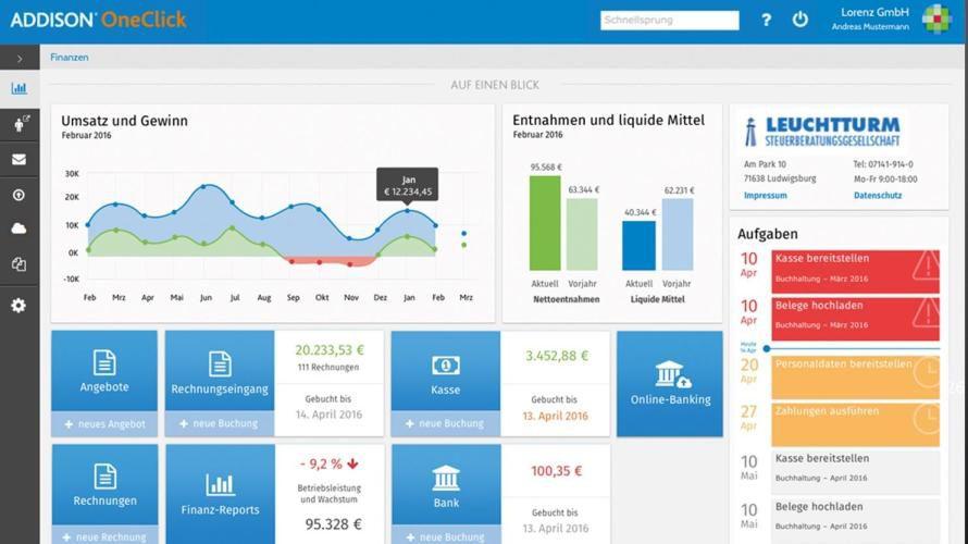Die Cloud-Plattform Addison OneClick bietet unter anderem ein Dashboard für Mandanten von Steuerberatern.