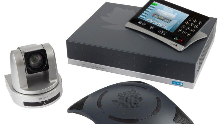 Videokonferenzen ohne massives Investment in Hardware - das verspricht StarLeaf (im Bild die Group-Telepresence Lösung).