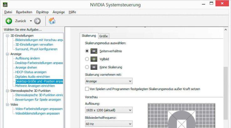 """Über die """"NVIDIA-Systemsteuerung"""" können Sie die Auflösung und Bildwiederholfrequenz festlegen sowie die Helligkeit des Bildschirms regulieren."""