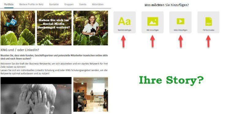 Holen Sie Ihre Besucher mit einem knackigen Text ab. Nutzen Sie das XING Portfolio.
