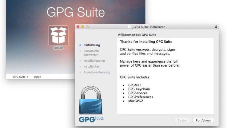 Die GPGtools lassen sich einfach aus dem Disk-Image heraus auf dem Mac installieren.