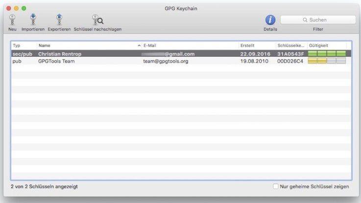 In der Schlüsselübersicht GPG Keychain finden Sie alle Schlüssel, die Sie auf Ihrem System verwenden.
