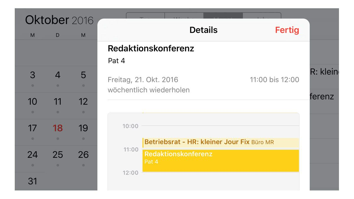 Kalendereinstellungen - Apps, Exchange, Outlook, Google Calendar