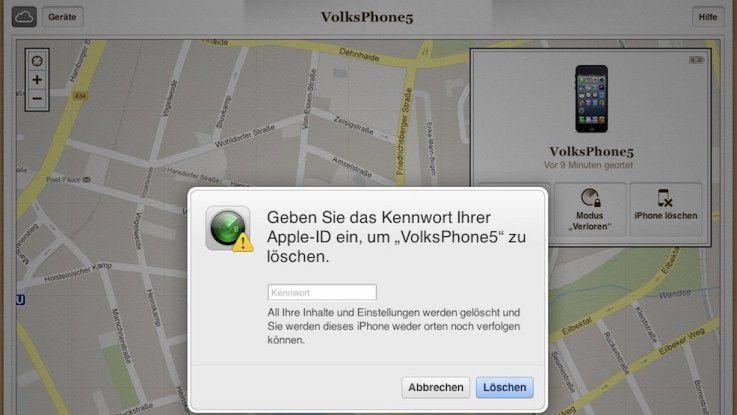 """Über die App """"Mein iPhone suchen"""" oder am Rechner über den Browser lässt sich das iPhone finden und sogar löschen."""