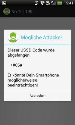 Abgefangen: Die App NoTelURL verhindert, dass das Smartphone bösartige Android-Codes ungefragt ausführt