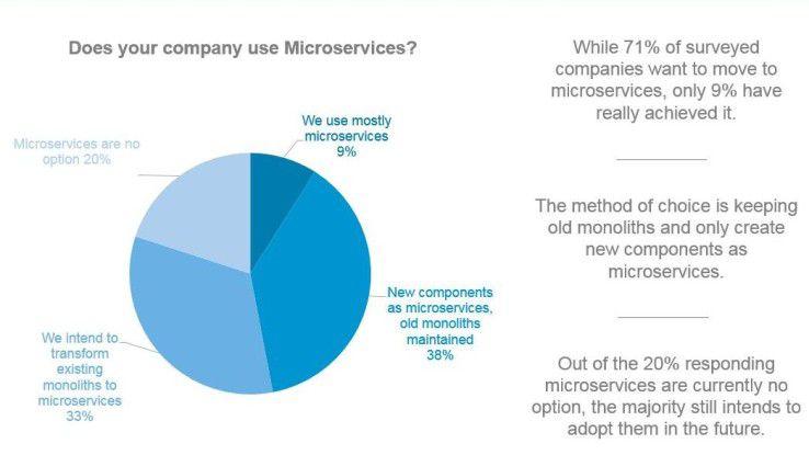 71 Prozent der von LeanIX befragten Unternehmen wollen Microservices nutzen. Aktuell liegt der Einsatzgrad bei nur 9 Prozent.