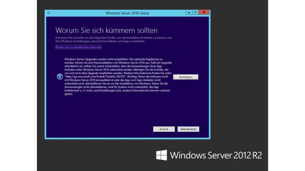 Update auf Windows Server 2016