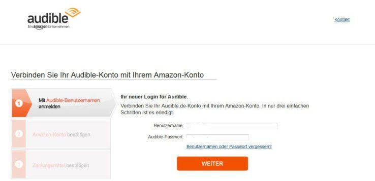 Audible bietet in den Kontodaten die Möglichkeit an, das Audible- mit dem Amazon-Konto zu verbinden.