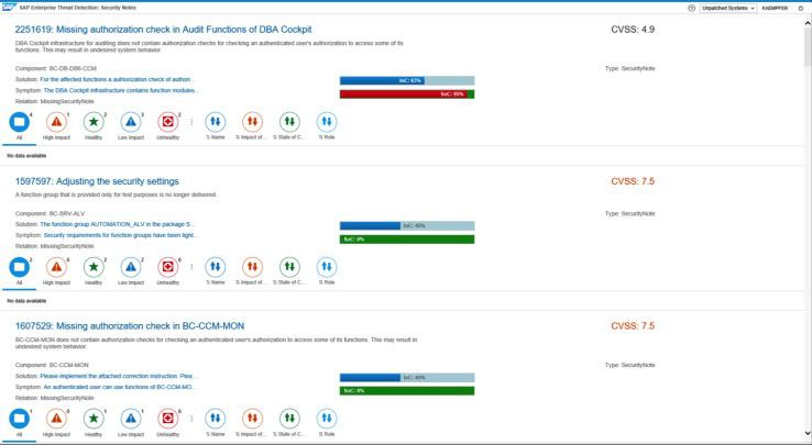 Darstellung einer Security Note in SAP ETD