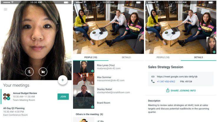 Im Apple AppStore deuten einige Screenshots auf die Optik und Möglichkeiten von Google Meet hin.