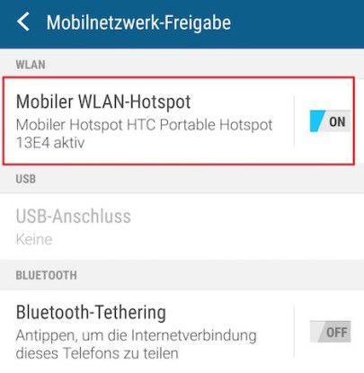 Hier schalten Sie den Hotspot auf dem Androiden ein. Damit wird Ihr Androide zum Handy-Modem.