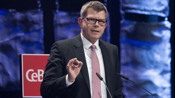 Bitkom-Präsident Thorsten Dirks forderte auf der CeBIT, die Chancen der Digitalisierung jetzt zu nutzen.