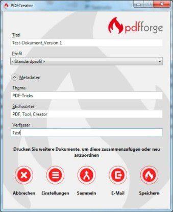 PDF-Konvertierer nutzen die Druckfunktion in Anwendungen. Vor dem Speichern lässt sich das PDF näher beschreiben.