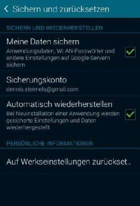 Lassen Sie den Haken bei der Datensicherung aktiviert, anschließend setzen Sie das Smartphone in den Auslieferungszustand zurück.