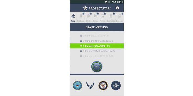 Mit der App iSchredder können Ihre Daten sicher löschen, da sie alten Speicherplatz mit neuen Werten überschreibt.