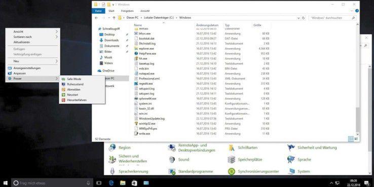 Große Elemente in der Systemsteuerung, Anzeige aller Dateiendungen und das Herunterfahren per Kontextmenü – so kann ein maßgeschneidertes Windows aussehen, das Sie mit dem Tool WinReducer EX-100 angefertigt haben.