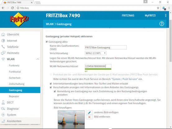 Für den Gastzugang über WLAN stellt die aktuelle Version der Fritzbox-Software umfangreiche Konfigurationsmöglichkeiten bereit.
