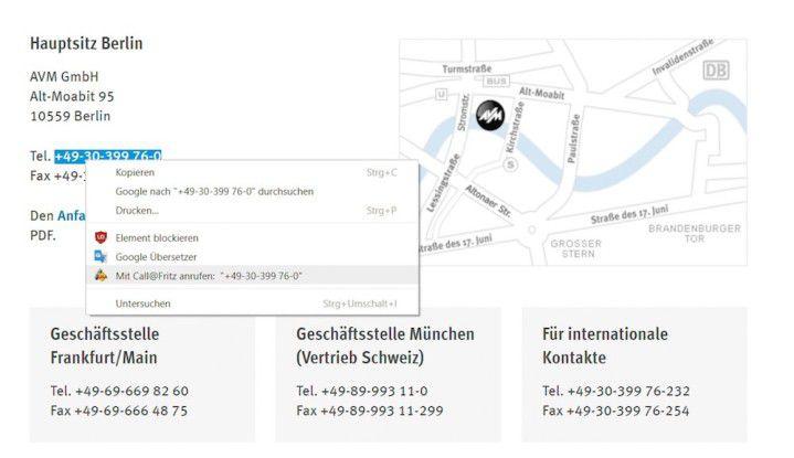 Call a Number via Fritz!Box: Markieren Sie eine Telefonnummer auf einer Webseite und rufen diese über das Kontextmenü direkt mithilfe der Fritzbox an.