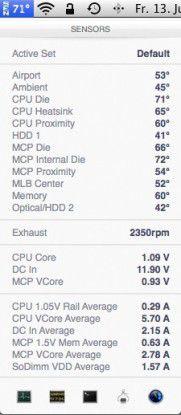 iStat Menus zeigt im Menü die Temperatur der CPU sowie der anderen Systemkomponenten sowie die Lüftergeschwindigkeit an.
