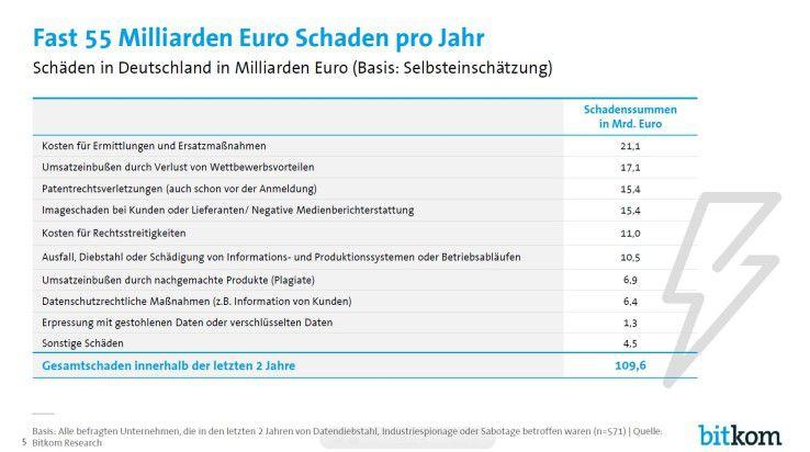Auf fast 110 Milliarden Euro haben sich dem Bitkom zufolge die Schäden durch Cyber-Kriminalität in den beiden vergangenen Jahren in Deutschland aufsummiert.