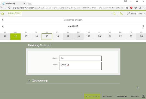 SAP Fiori App Zeitbuchungen