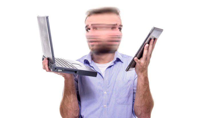 Wer regelmäßig mehrere Dinge auf unterschiedlichen Geräten gleichzeitig erledigt, kann sich nicht mehr so gut konzentrieren und wird unzufriedener.