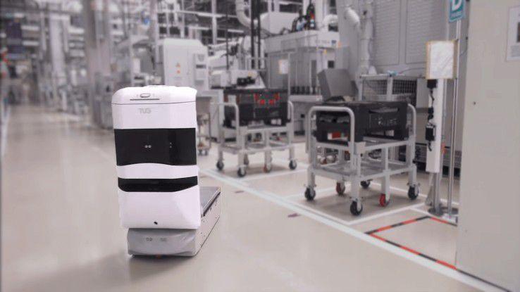 Unspektakulär kommt der Aethon TUG Robot daher. Doch das autonome Vehikel hat es in sich.