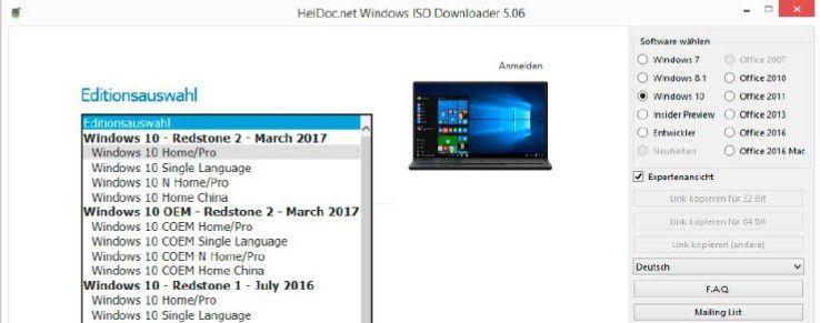 """ISO-Datei: Windows ISO Downloader bietet aktuelle und ältere Windows-10-Versionen zum Download an. Hinter """"Windows 10 - Redstone 2"""" verbirgt sich die Version 1703 (Build-Nummer 15063)."""