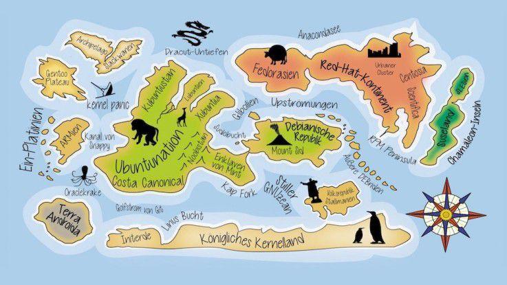 Landkarte der Linux-Distributionen: Große Kontinente und unzählige kleinere Provinzen.