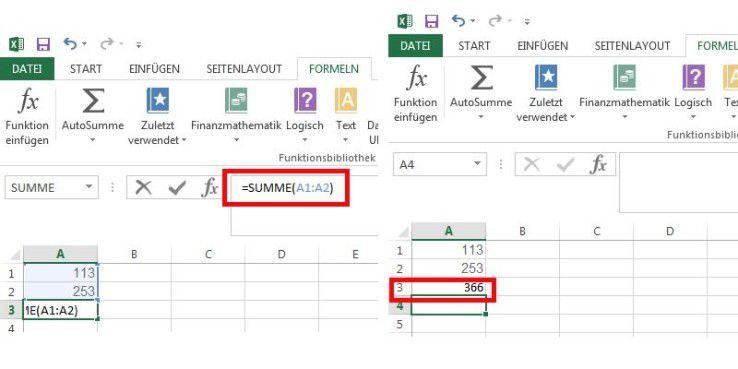 Das Ergebnis von =SUMME(A1:A2 sehen Sie auf dem rechten Screenshot.