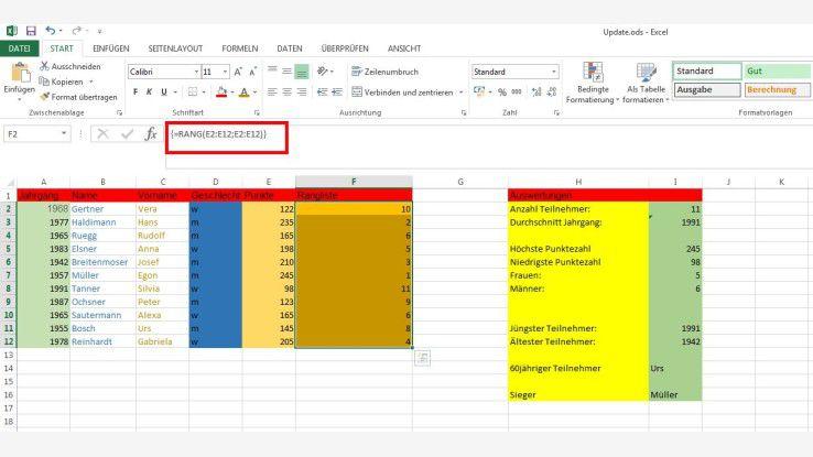 Excel rang funktion