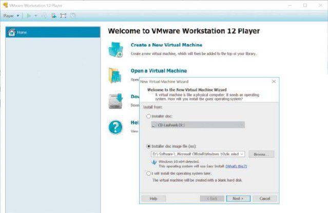 """Mit """"Create a New Virtual Machine"""" richten Sie ein Gastsystem ein. Am einfachsten geht es mit einer unbeaufsichtigten Installation."""