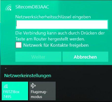Netzwerksicherheitsschlüssel eingeben